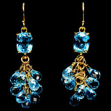 NATURAL! SWISS BLUE TOPAZ 925 STERLING SILVER EARRINGS 14K GOLD PLATED