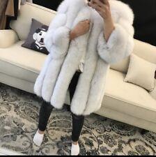 Ladies Grey White Real 100% Fox Fur Long length Warm Winter Shaggy Coat S M L