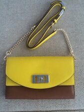b132a648f1 BNWT Michael Kors Leather KARSON Wallet Clutch Cross body Bag in Yellow    Brown