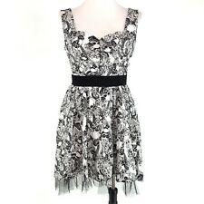 Hearts & Roses Dress 16 White Black Skull Pinup Retro Costume Party Dress VLV