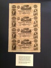 - Canal Bank of New Orleans Louisiana Uncut Sheet of Four $100 Notes circa 1855