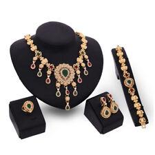 Statement Necklace Gold Set  Bollywood Style  Simulated Gemstones Arabian UK