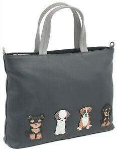 Mala Leather Handbag - Best Friends Sittings Dogs Grab Bag RRP £71.99