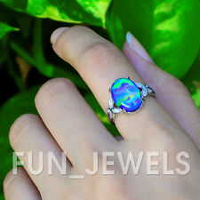 Opalescent Multi Color Change Oval Mood Ring With Beautiful Swirl Brass Vintage