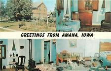 Amana Iowa~Banner Greetings~Parlor~Kitchen~Antique Toys Bedroom~1960s Postcard