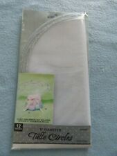"""Tulle Circles 9"""" White & Silver Wedding & Shower 12 Pcs. ~ New ~ Fast Shipping!"""