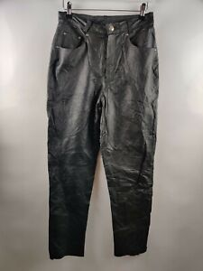 Vintage Women Real Leather Trousers Black Straight Pockets 90' Blogger W28 10