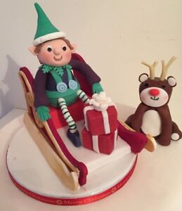 EDIBLE SLEIGH ELF REINDEER CHRISTMAS CAKE TOPPER DECORATION father christmas
