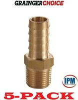 """5-PACK! NEW!  6AFH2 GRAINGER CHOICE Brass 1/2"""" Hose Barb x 3/8"""" Male NPT Fitting"""