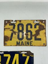 Maine License Plate 1912 Porcelain 7862 4 Digit ME Yellow