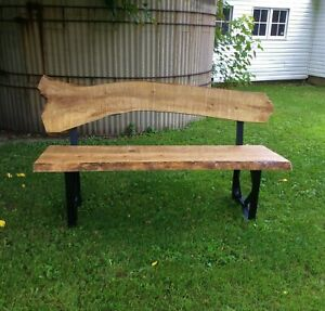 Bench Live Edge Ash Wood Solid Steel Black Legs Handcrafted Custom One of a Kind