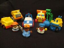 Lot of toy construction trucks with sound and people different brands