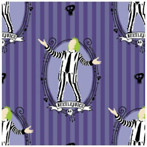 Beetlejuice fabric on purple background by Camelot fabrics ~By The Yard