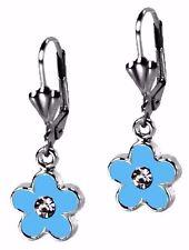 Blue Flower Silver Dangle Enamel Fashion Earrings Leverback By Grace Of New York