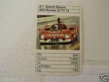 49-BOLIDES RACE CARS A1 ALFA ROMEO 33 TT12 CAMPPARI   KWARTET KAART,IS DAMAGED