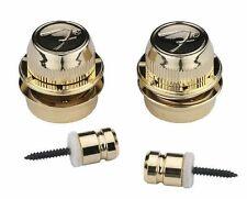 GENUINE FENDER GOLD F Logo Strap LOCKS & Buttons For TELE Telecaster & STRAT New