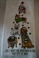 CHRISTMAS DOGS ARTISAN DE LUXE SET OF 2 HOLIDAY KITCHEN DISH TOWELS NWT