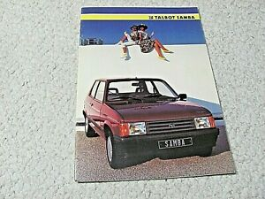 1985 TALBOT SAMBA (FRANCE) SALES BROCHURE !