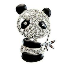 "CUTE PANDA BEAR BROOCH 1.5"" Sparkling Rhinestone Crystal Pin Enamel Black White"