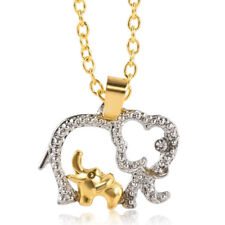 Charm Crystal Elephants Mom & Baby Pendant  Mother's Day Gift Chian Necklace
