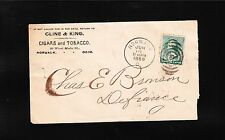 Cline & King Tobacco Cigars Norwalk OH 1889 Cover & Angry Letterhead Content z66