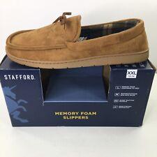 Stafford Tan Moccasin Memory Foam Slippers Size XXL 13/14 Mens Indoor Outdoor