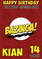 Personalised birthday card Bazinga Big Bang Theroy any name/age/relation