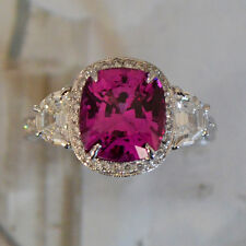Pink Sapphire & Diamond - Platinum Engagement Ring - 6.00+ Carat TW - No Heat