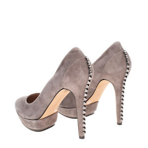RRP €145 VINCE CAMUTO Suede Leather Court Shoes EU 40 UK 7 US 10 Studs High Heel