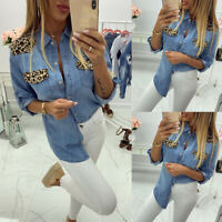 Women's Leopard Print Long Sleeve Denim Tops Shirt Ladies Button Blouse Tunic