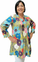 Ladies Cotton Tunic Top Lulu Bold Poppy by Spirituelle XS-S Great with Jeans
