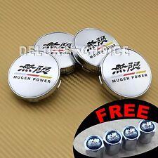 4 CAR ALLOY WHEEL RIM CENTER LOGO CAP HUB 60mm for HONDA ACURA MUGEN SILVER