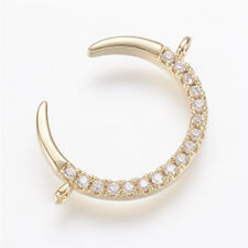 2 Pcs Real Gold-Filled Environmental Brass Micro Pave Cubic Zirconia Moon Links