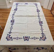 Linen? Tablecloth Estate Sale Butterflies Cross Stitch Unique Hemstitch 100 X 69