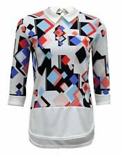 Polyester Collared 3/4 Sleeve Tops & Blouses for Women
