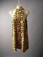 Leopard Animal Mock High Neck A-Line Swing Mini Cocktail Party 32xt Dress S M