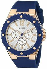 Guess Sporty Oversized U0452L3 Navy Silicone & Rose Gold Women's Watch