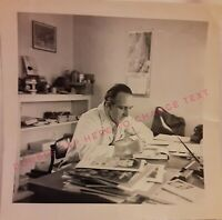 Vintage Old 1940's Occupational Photo of Man Working at Desk with Magazines