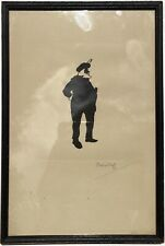 Antique Old Original Silhouette Print Falstaff Signed Providence RI Shakespeare