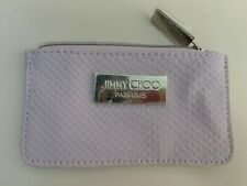 Jimmy Choo Parfums zippered makeup card case light pink snakeskin gold trim new
