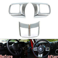 Chrome Interior Steering Wheel Cover Trim 3x For Patriot Compass Wrangler 11-16