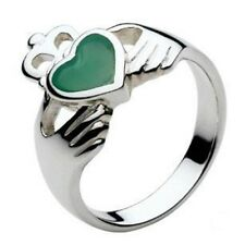 New Silver Irish Celtic Claddagh Green Agate set Heart Ring Jewellery Gift Boxed