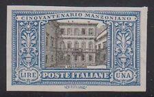 Italia 1923 50° di MANZONI L.1, varietà: non dentellato S.155d nuovo s.g.  (F15)
