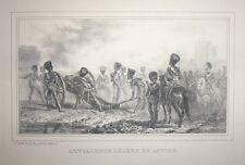 """Lithographie par A. RAFFET, """"Artillerie Légère en Action"""", XIXème"""