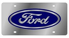 New Ford Blue Logo Stainless Steel License Plate