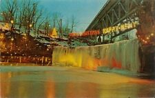 Vintage Postcard - Christmas Lighting at Ludlow Falls Ohio