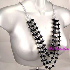 Deco Chic Long Multi-Strand Black Bicone Bead Tier Silver Chain Catwalk Necklace