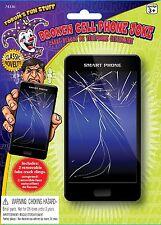 2 NEW BROKEN CELL PHONE SCREENS FAKE CRACKED CLINGS DECALS JOKE GAG GIFT PRANK