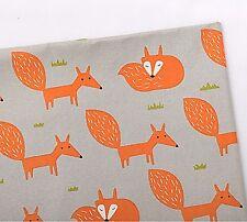 Orange renard gris 100% Coton Tissu Oxford vestige 55 CM X 48 Cm Animal Fox Coupe F