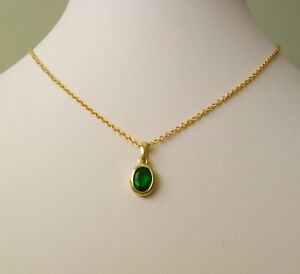 GENUINE SOLID 9K 9ct YELLOW Gold  OVAL EMERALD  PENDANT